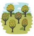 landscape orange trees vector image vector image