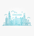linear banner of chicago city vector image
