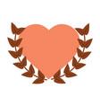 love heart wreath emblem romantic image vector image