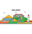 maui hawaii city skyline architecture vector image vector image