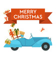 merry christmas greeting card car with gifts vector image