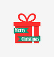 merry christmas red gift box and ribbon on white vector image vector image