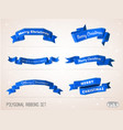 modern 3d low polygonal flat style ribbons set vector image