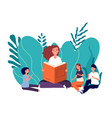 mother reading book smiling woman tells fairytale vector image vector image