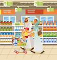 muslim family shopping cartoon concept vector image