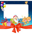 night christmas frame with Santa Claus reindeer vector image vector image