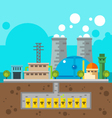 Nuclear plant and nuclear waste underground Flat d vector image