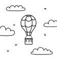 outline hot air balloon cloud bird vector image