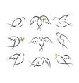peace pigeons icons set vector image vector image