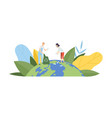people cleaning earth planet from plastic vector image vector image