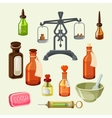Pharmaceutical apothecary elements set Realistic vector image vector image
