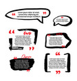 quote blanks with text bubble with commas set of vector image