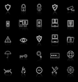 Security line icons with reflect on black vector image vector image