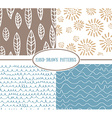 Set og hand-drawn simple seamless patterns