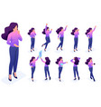 set poses gestures character woman create vector image