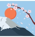 snowy mountain fuji sakura flower fall japan sun vector image vector image