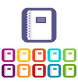 Spiral notepad icons set flat