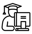 student at computer icon outline style vector image vector image
