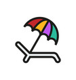 umbrella recliner icon on white background vector image vector image