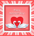 valentine day frame with 3d swan and heart vector image vector image