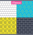 waves flowers and bricks seamless textures vector image vector image