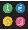 Currency exchange flat linear icons set vector image