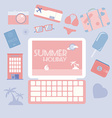 Travel planning summer holiday icon set vector image