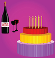 birthday cake with wine cartoon vector image