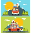 Car Trip Family Adult Children Road Concept Flat vector image vector image