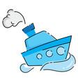 cartoon boat a water vector image vector image
