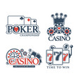casino poker gamble game icons vector image vector image