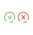 check mark and cross icon isolated symbol green vector image