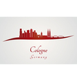 Cologne skyline in red vector image