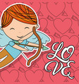 cupid boy with bow and arrow love card vector image vector image