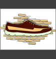 dark red shoes on a piece on the background of a vector image