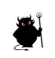 devil with predatory red eyes silhouette holding vector image