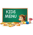 different types food and little girl vector image vector image