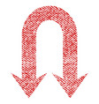 double back arrow fabric textured icon vector image vector image