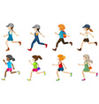 Faceless young girls vector image vector image