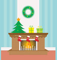 flat christmas fireplace with socks and gifts vector image vector image