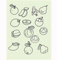 Freehand drawing fruit on a graph paper vector image vector image