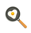 fried egg in a pan heart shaped chicken egg vector image vector image