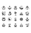 garden black silhouette icons set vector image