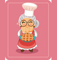 grandma holding homemade pie vector image vector image