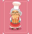 grandma holding homemade pie vector image