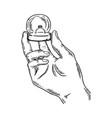 hands precious ring engraving vector image vector image