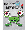 happy birthday card with cute monster vector image vector image