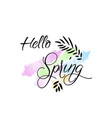 hello spring card with handwritten phrase holiday vector image vector image