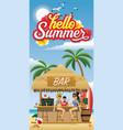 hello summer flyer with beach bar vector image vector image