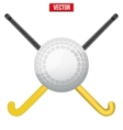 Hockey field ball and sticks vector image